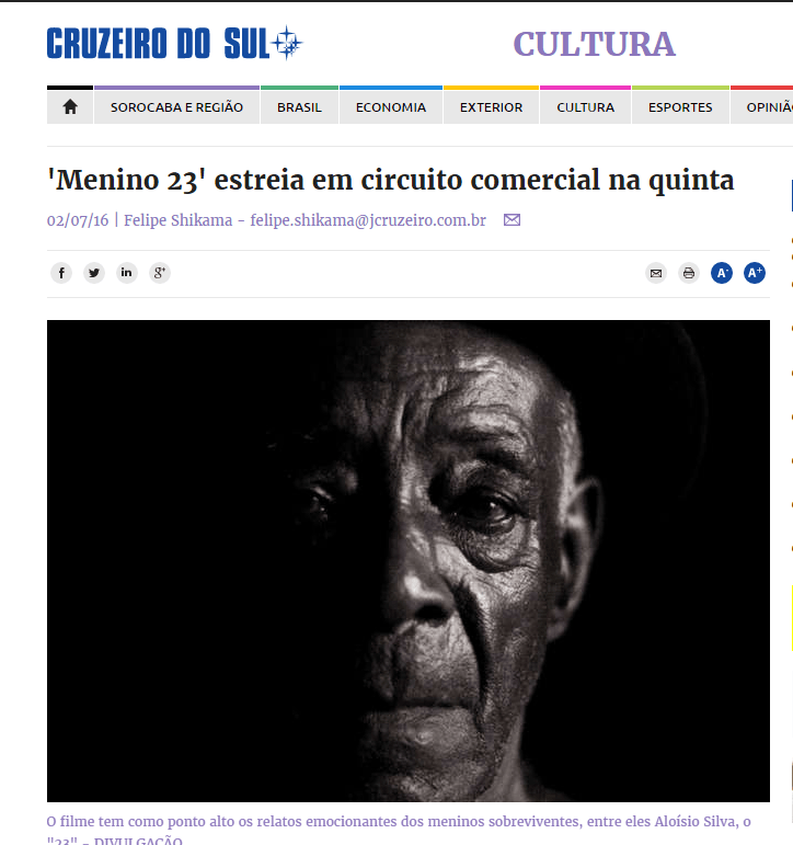 -Menino 23  estreia em circuito comercial na quinta   02 07 16   CULTURA   Jornal Cruzeiro do Sul